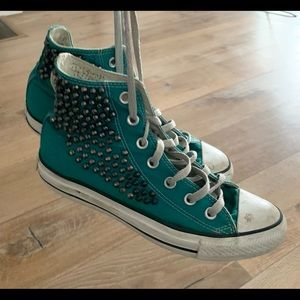 Teal Green studded converse